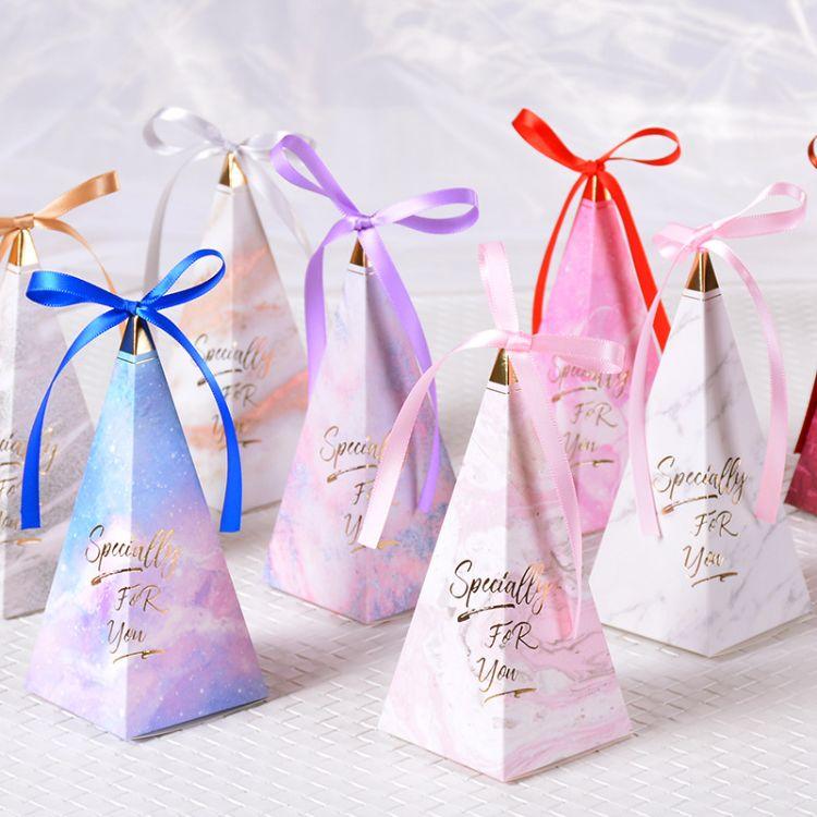 2018新款欧式锥形喜糖盒 婚礼糖盒 森林系创意喜糖袋结婚用品厂家