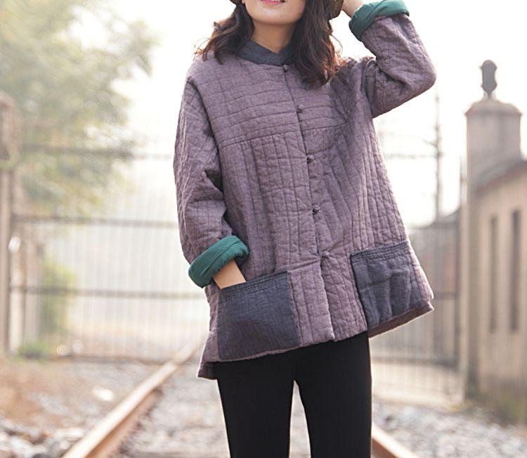 冬款盘扣装饰撞色怀旧色织亚麻肌理感灰紫色复古棉袄棉衣018159