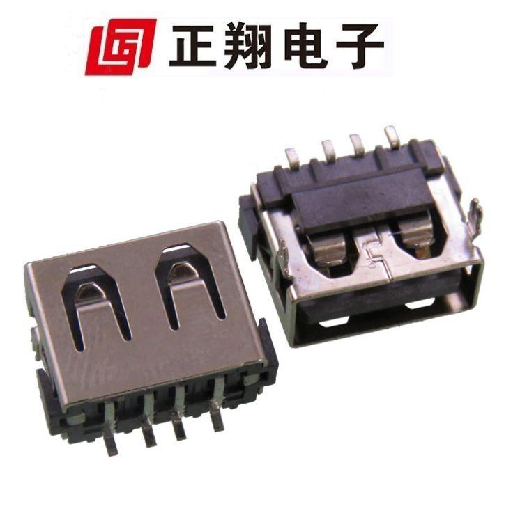 供应 USB AF短体母座90度 AF短体6.8前插后贴平口 DIP90度平口