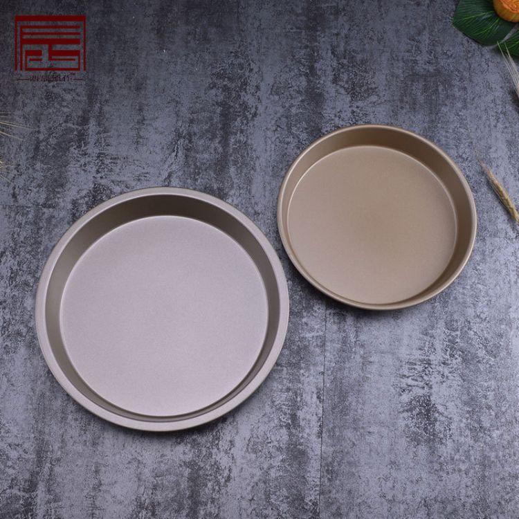 金色8寸9寸深口披萨烤盘 不粘碳钢圆形派盘约3cm高PIZZA烘焙烤盘