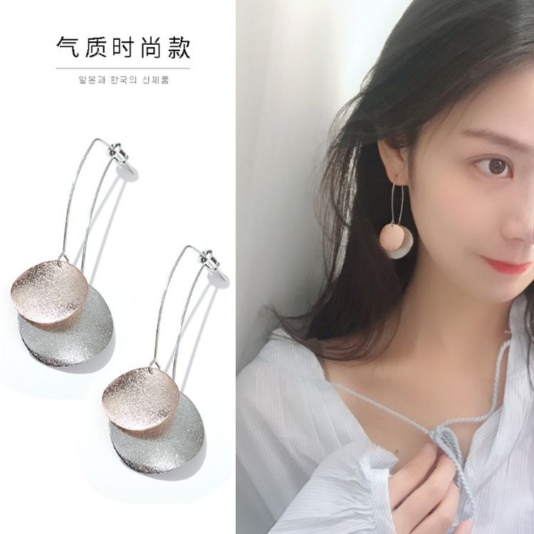 韩国百搭磨砂质感圆片耳环简约气质撞色耳钉后挂式耳坠  厂家批发
