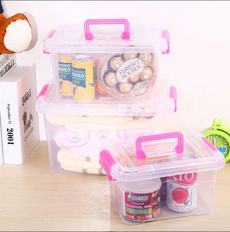 厂家直销 食品级透明收纳箱整理箱塑料盒子有盖 手提储物箱