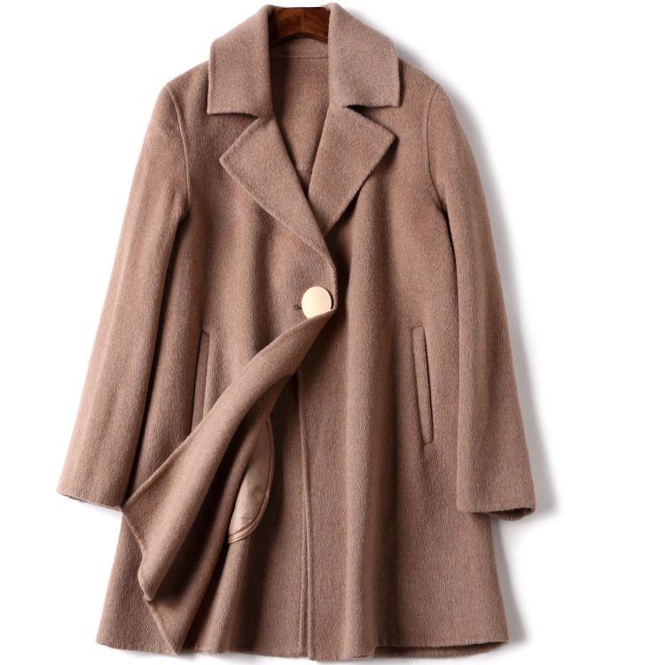 一粒扣毛呢大衣
