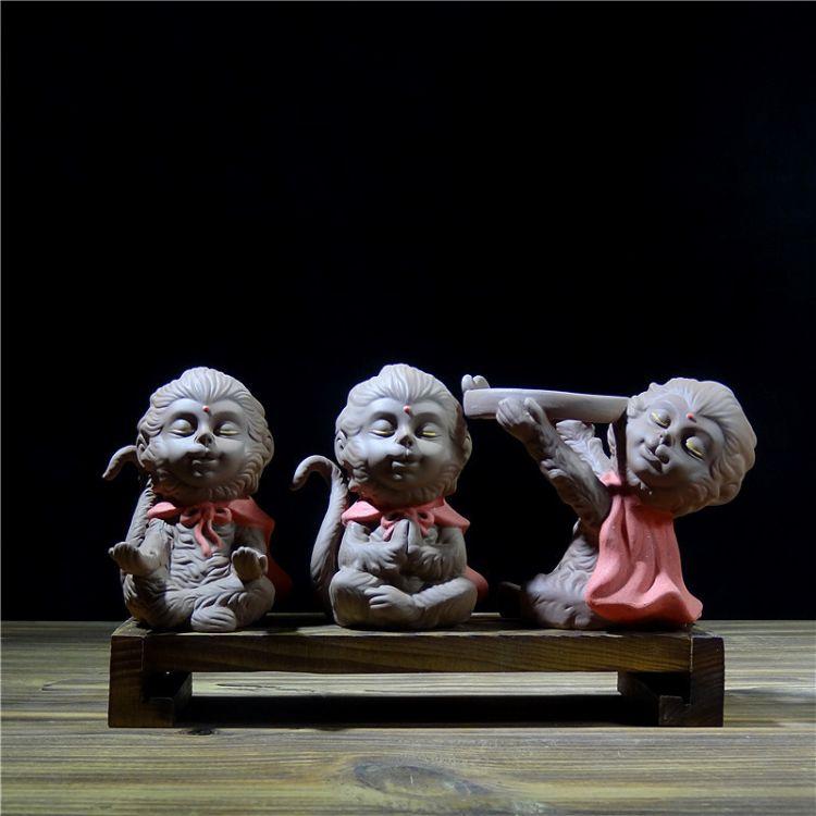 紫砂陶泥茶宠齐天大圣悟空猴子茶玩摆件可养功夫茶道车载陶瓷摆件
