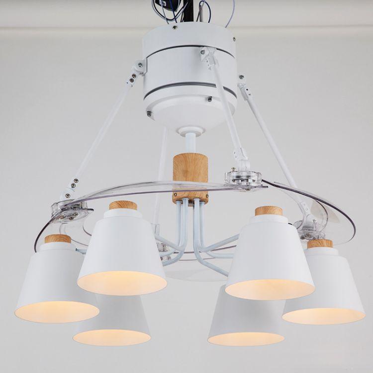 厂家直销简约隐形吊扇灯铝制木质简约设计客餐厅卧室吊灯六头灯饰