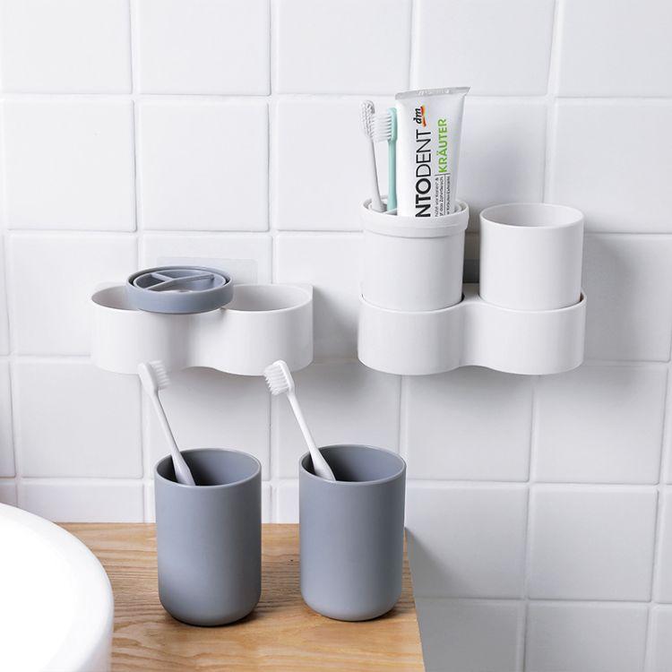 2287卫生间牙刷架壁挂洗漱口牙刷筒牙刷杯抖音置物架套装收纳架