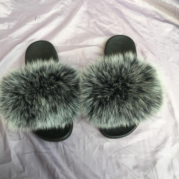 毛毛鞋平底狐狸毛露趾女凉拖鞋平底懒人室外凉拖鞋女夏防滑夏季