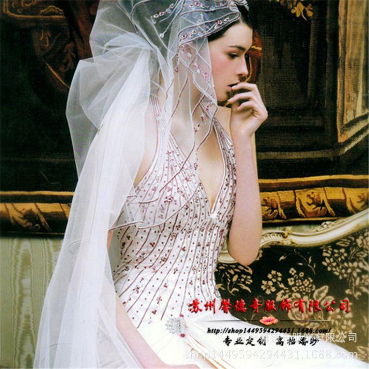 欧美新款高端新娘拖尾婚紗礼服厂披纱盘头双肩深V鳮心领紫珠腰