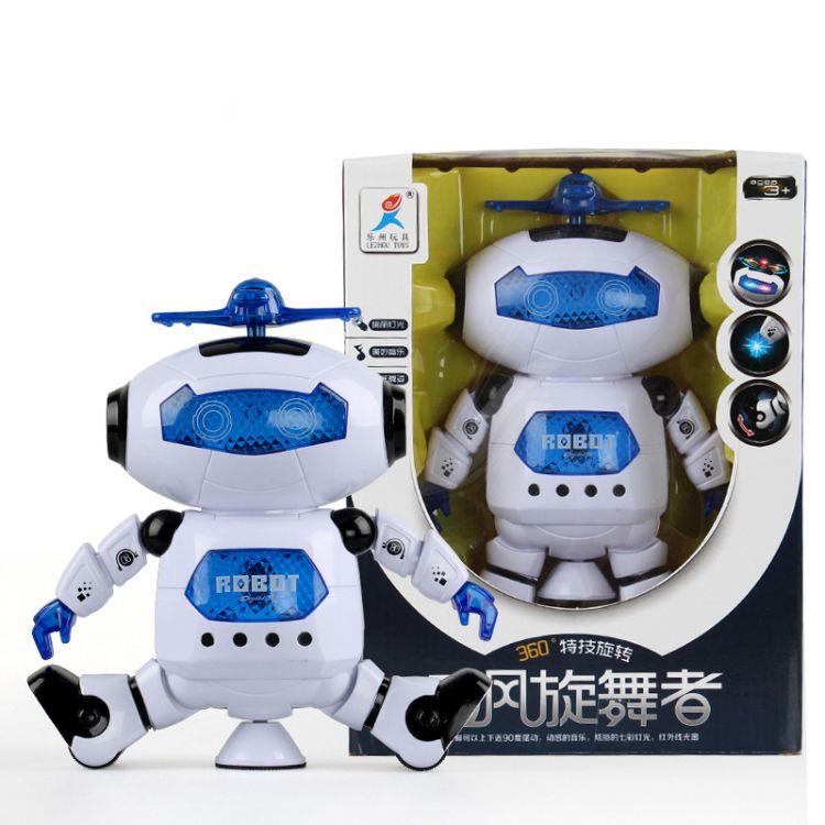 爆款儿童电动炫舞发光音乐智能机器人 360度旋转机器人模型玩具
