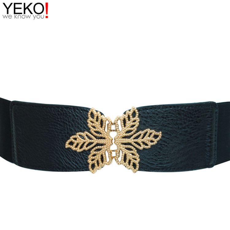YEKO 新品时尚宽腰封女金属雪花对扣弹力腰带松紧束腰带女士配饰