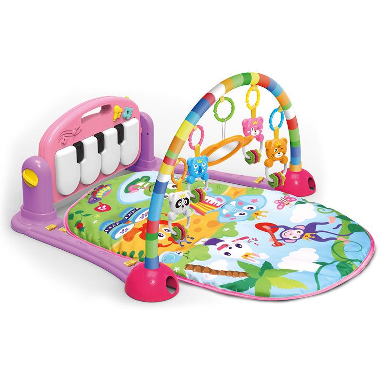 婴幼儿脚踏钢琴多功能音乐健身架0-1岁宝宝玩具爬行垫早教游戏毯