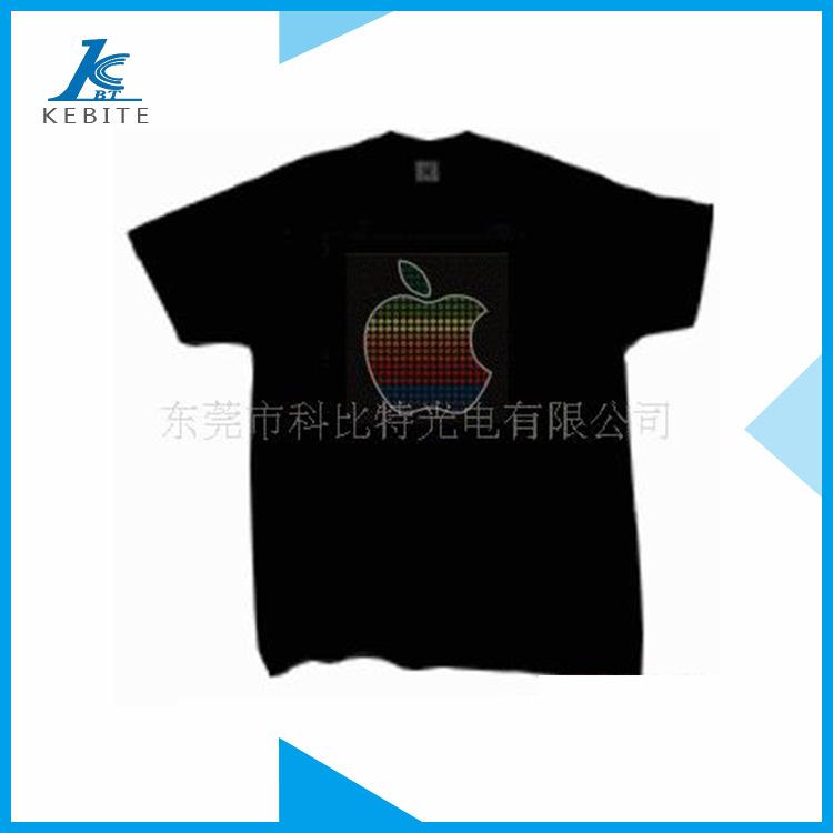 厂家订制供应EL冷光片声控衣服 闪光T恤衫 EL声控闪光衣服