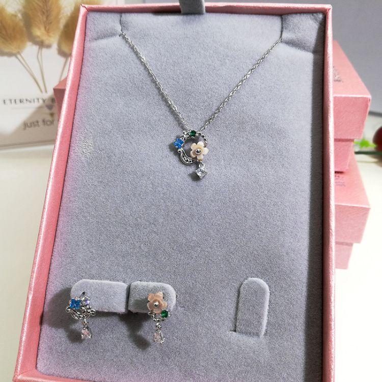 925银粉色花朵母贝项链纯银镶钻小清新锁骨链韩版简约少女吊坠