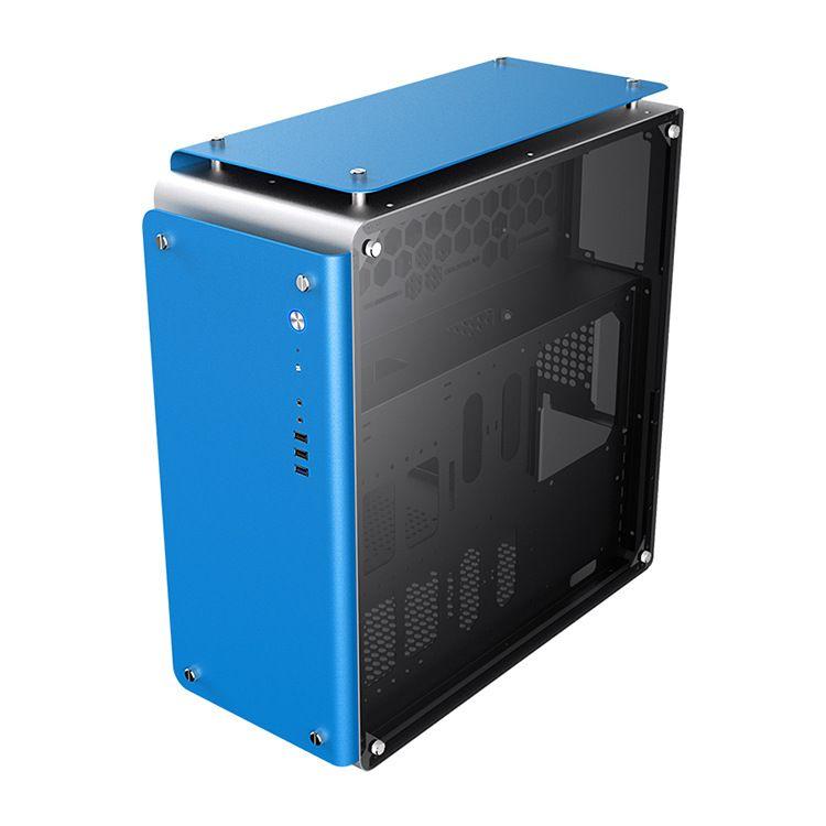 厂家直销直立式电脑机箱 全铝面板商用塔式机箱 五金黑化电脑主机