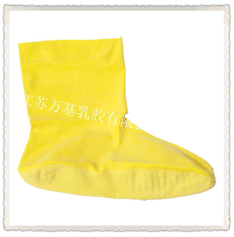 黄色牛筋耐酸碱乳胶鞋套 加厚耐磨劳保防护橡胶鞋套厂家批发定制