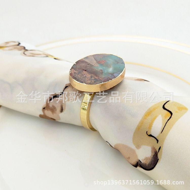 金色镶边玛瑙餐巾圈 豪华餐桌装饰口布扣 玛瑙原石餐巾扣