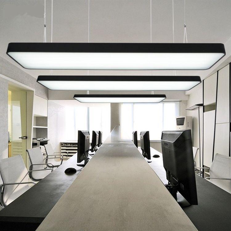 LED办公室吊灯长方形吊线灯 长条型简约时尚圆角吸顶灯商场写字楼