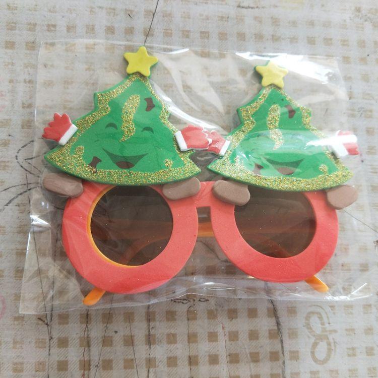 EVA创意儿童环保卡通眼镜圣诞节日用品圣诞树造型眼镜个性小礼品