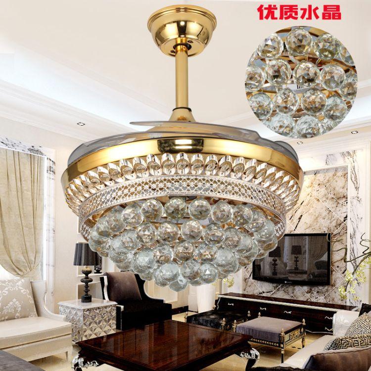 风扇灯 吊扇灯餐厅 隐形风扇灯客厅 卧室吊灯 全铜电机led电扇灯