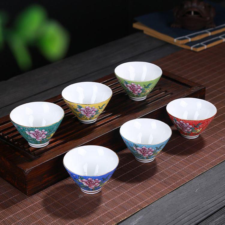 景德镇茶具粉彩描金斗笠茶杯陶瓷茶碗扒花品茗杯主人单杯功夫茶杯