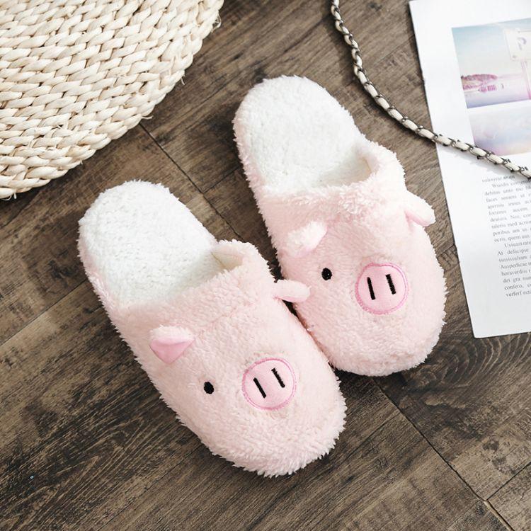 2018新款棉拖鞋女可爱小猪冬季情侣保暖室内防滑小熊毛毛拖鞋男