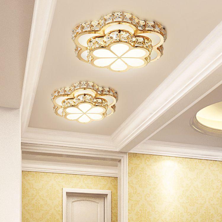 LED水晶过道灯现代简约梅花款走廊玄关进门入户灯天花射灯吸顶灯