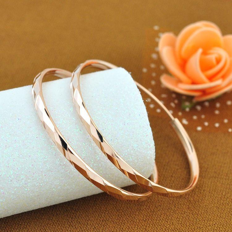 纯银耳环女 时尚925银镀彩金玫瑰金耳圈彩银耳环大耳圈耳坠银首饰