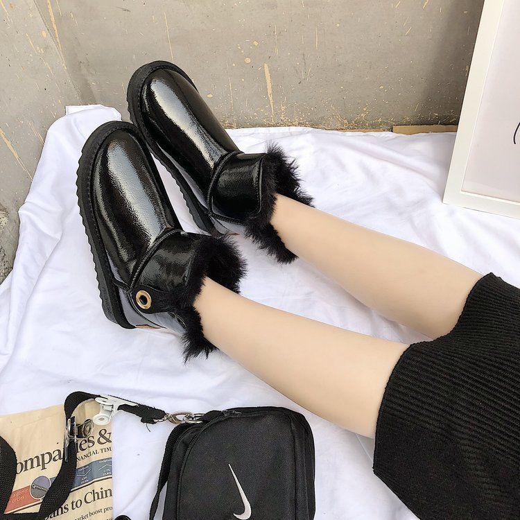 雪地靴女鞋2018韩版最新款短筒靴平底保暖加绒亮皮冬季棉鞋套筒