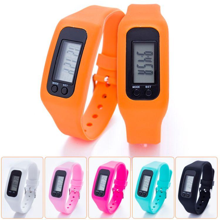 热销爆款儿童多功能计步器硅胶计步器led电子手环手表智能腕表