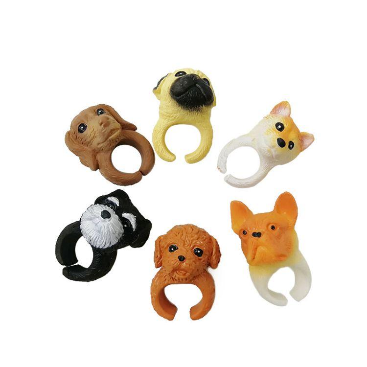 日韩可爱卡通沙皮狗戒指 个性呆萌斗牛犬狗狗头 创意儿童玩具指环
