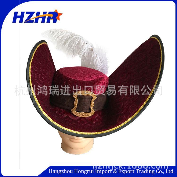 订制外贸出口高档狂欢节帽子万圣节胡克船长帽 海盗帽 巫婆帽