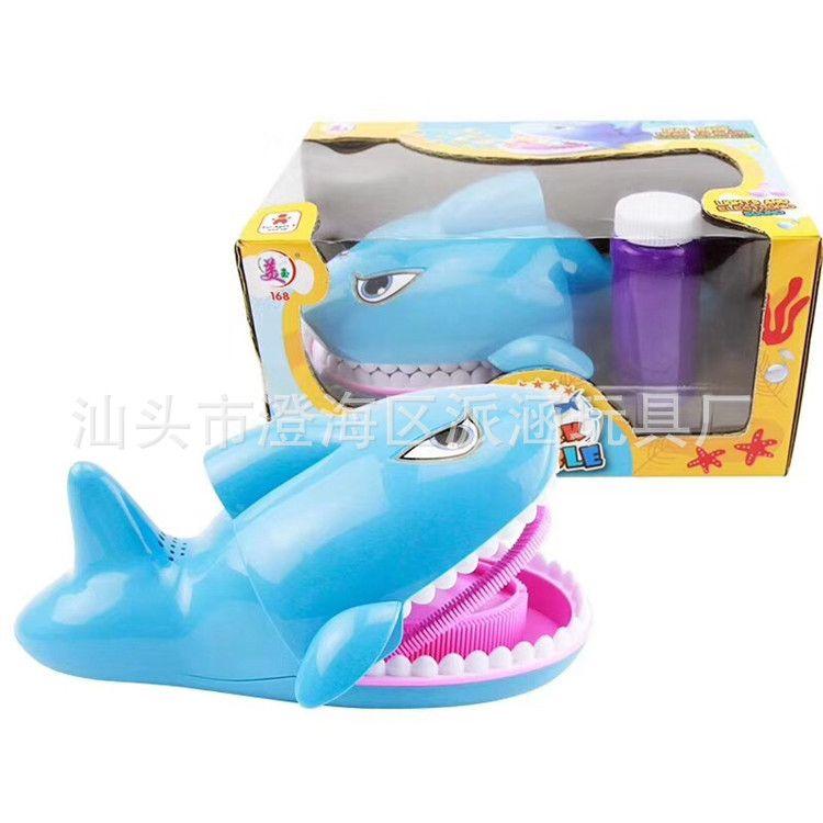 抖音同款鲨鱼泡泡机玩具 夏日广场热卖抖音鲨鱼吹泡泡厂家批发