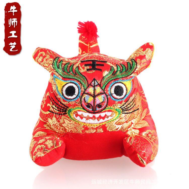 传统民俗中国风织锦缎刺绣布老虎 优质pp棉填充