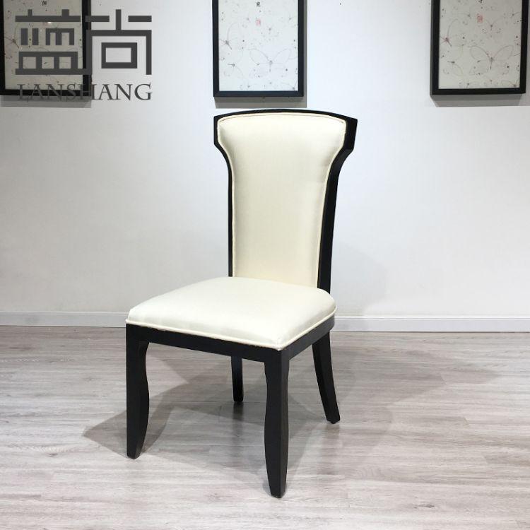 新中式实木餐椅现代简约布艺餐椅酒店餐厅火锅店咖啡厅家具现货
