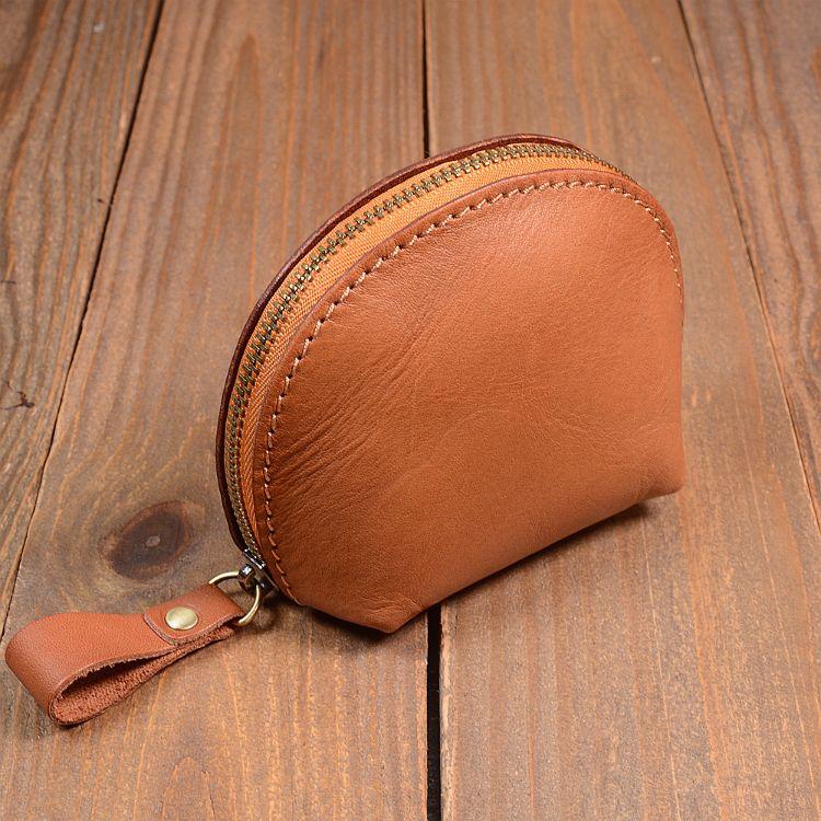 厂家直销纯色植鞣小零钱包 车缝线拉链杂物包头层牛皮钥匙包