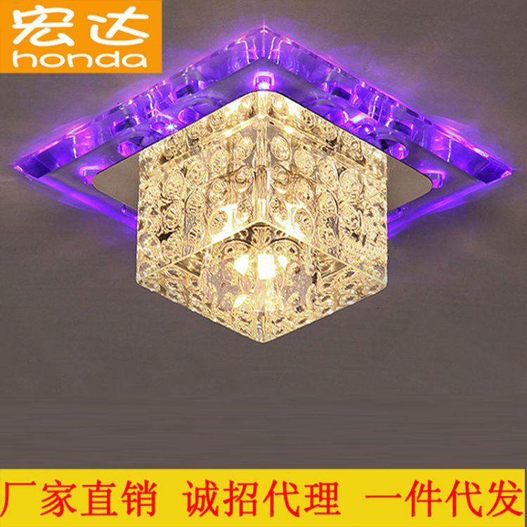 厂家直销七彩水晶过道灯走廊灯方形客厅装修led吸顶灯牛眼灯具