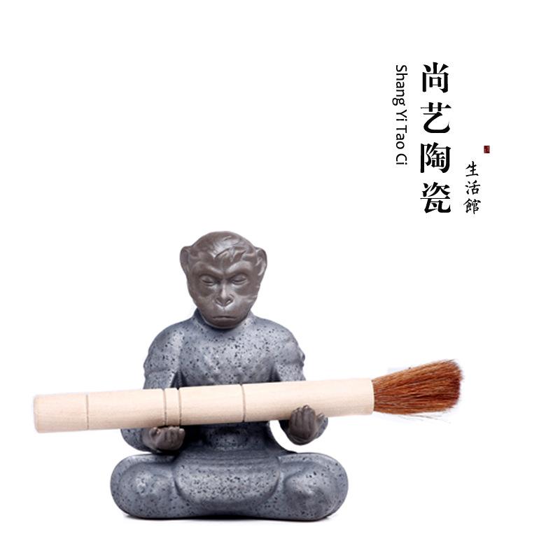 孙悟空 齐天大圣笔架精品茶宠摆件 香插茶盘茶道茶具配件生肖猴子