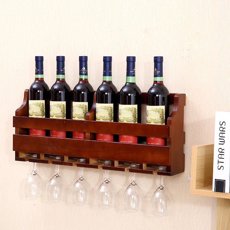 实木挂墙酒架壁 墙上红酒架墙壁简约高脚杯家用简约现代
