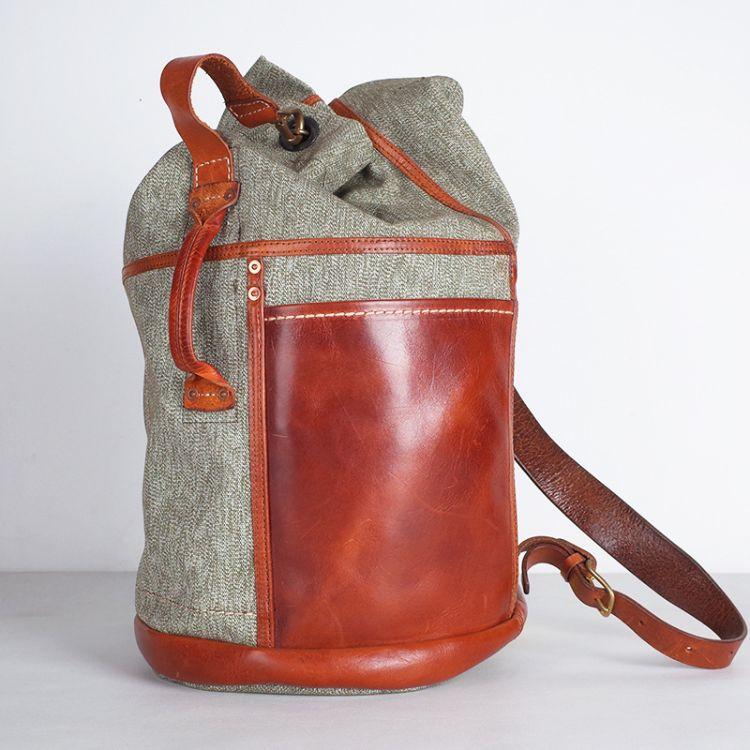 一件代发战术双肩背包大容量男女胡椒盐帆布背包意大利植鞣皮筒包