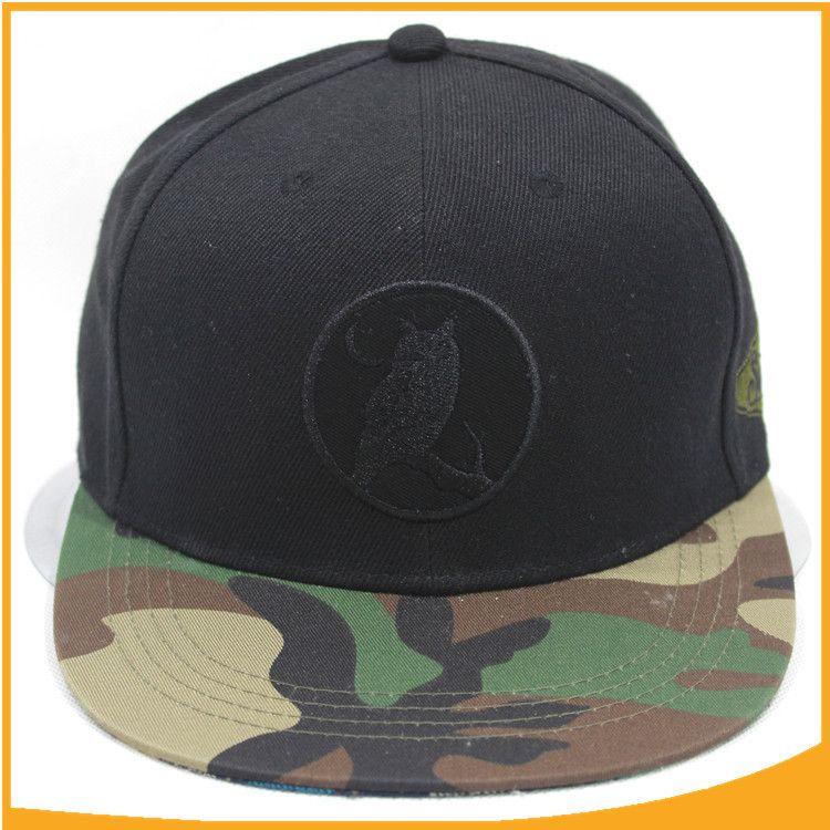 高档羊毛迷彩帽檐嘻哈街舞帽 特制军迷平板棒球帽 新款街舞表演帽