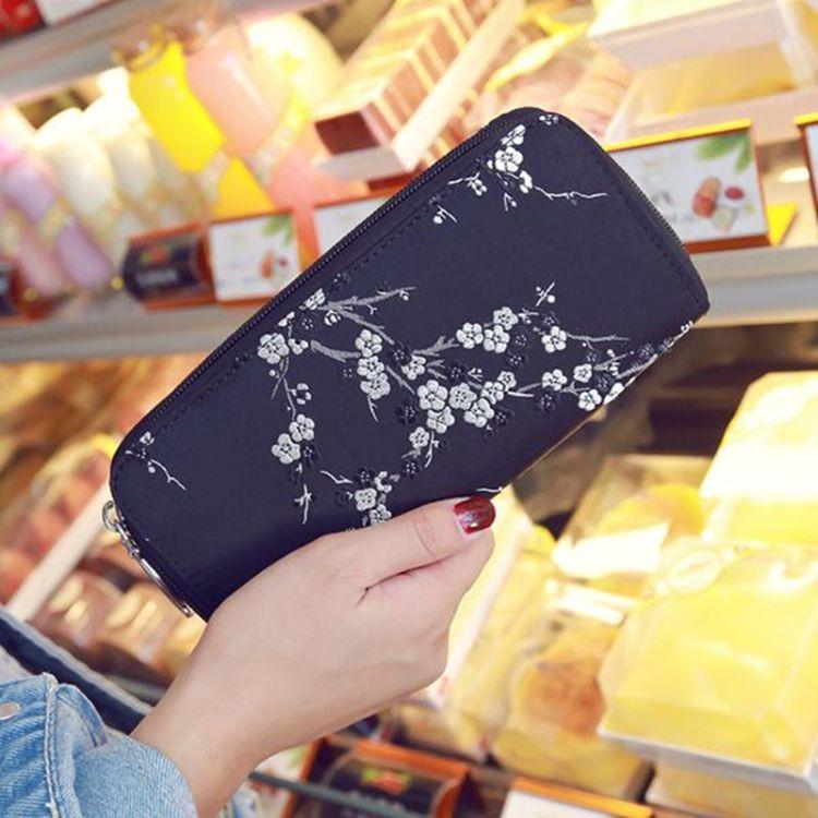 潮流新款欧美时尚pu皮印花长款钱包 女士大容量拉链手拿包