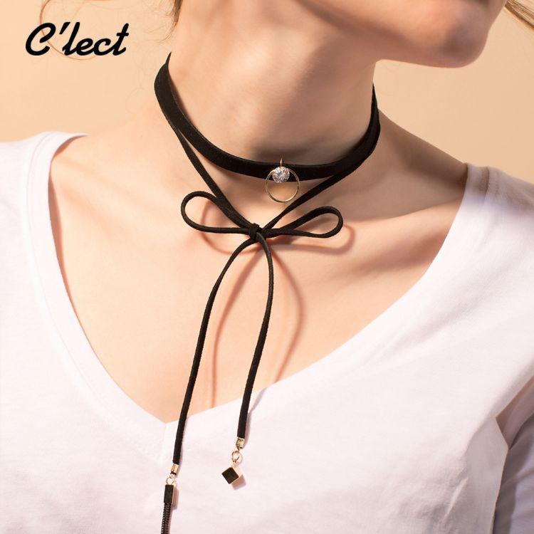 韩式黑带女锁骨带女式金色圆环chocker时尚项圈