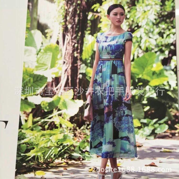 广州大品牌古舞花色大码女装折扣尾货批发15年夏装三标齐全
