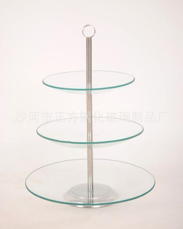 餐桌摆件西式玻璃蛋糕架、蛋糕盘钢化玻璃食品级不锈钢多层