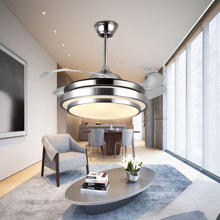 隐形吊扇灯 餐厅风扇灯客厅卧室家用简约现代带电风扇的吊灯