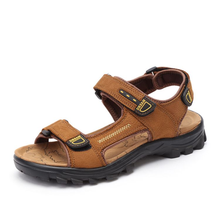 凉鞋男春夏透气大码凉拖鞋男士防滑休闲皮凉鞋真皮沙滩鞋头层牛皮