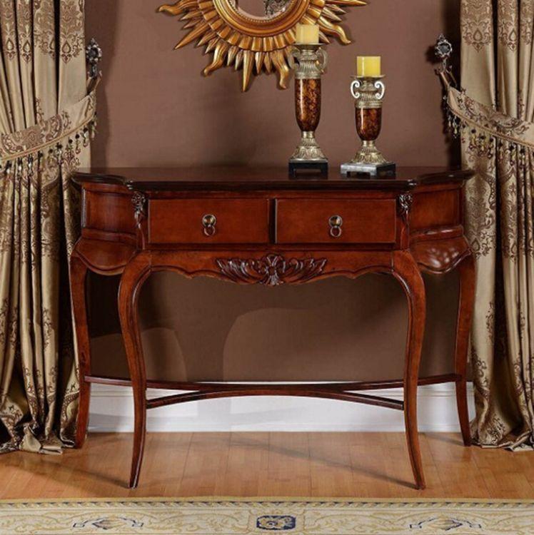 欧式玄关实木雕花玄关柜带抽屉式可拆装客厅家具