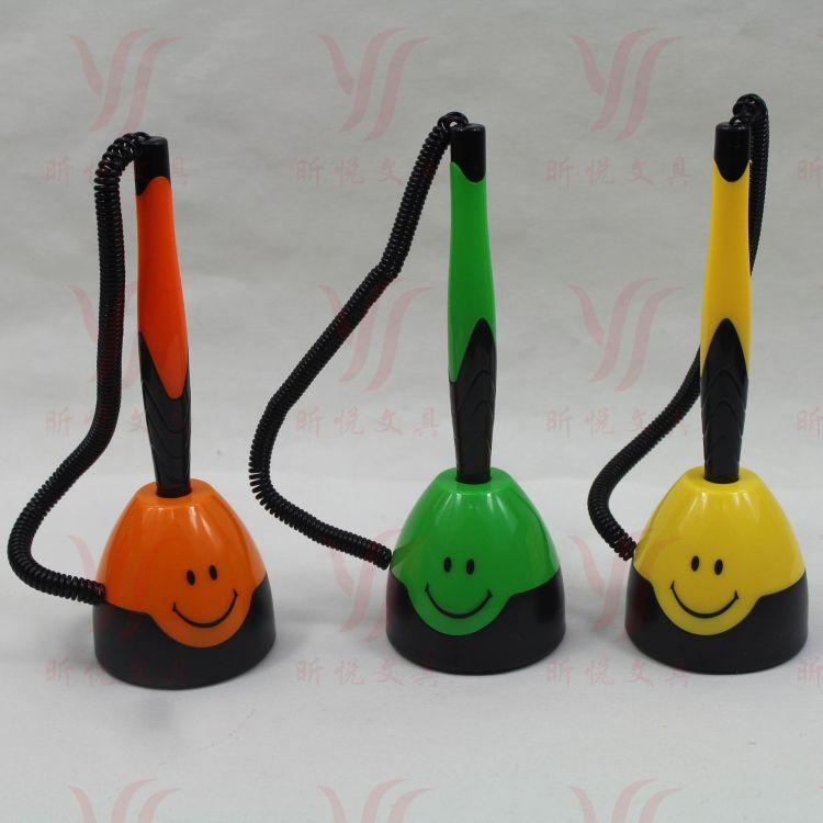 圆珠笔芯台笔 签字中性笔 笑脸柜台笔 鸡蛋形状 双面胶底 弹簧绳