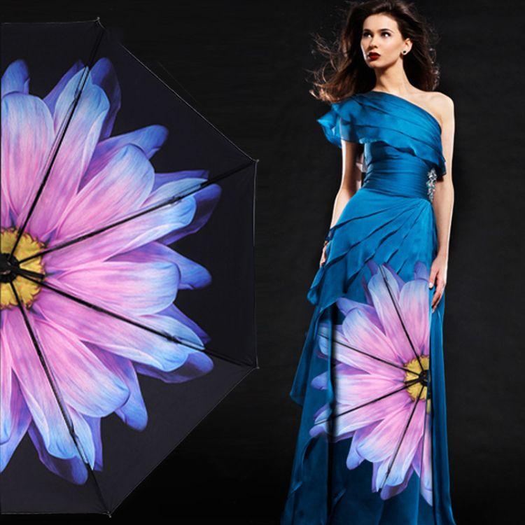 新款黑胶折叠太阳伞防晒防紫外线遮阳伞三折小黑伞女生两用晴雨伞