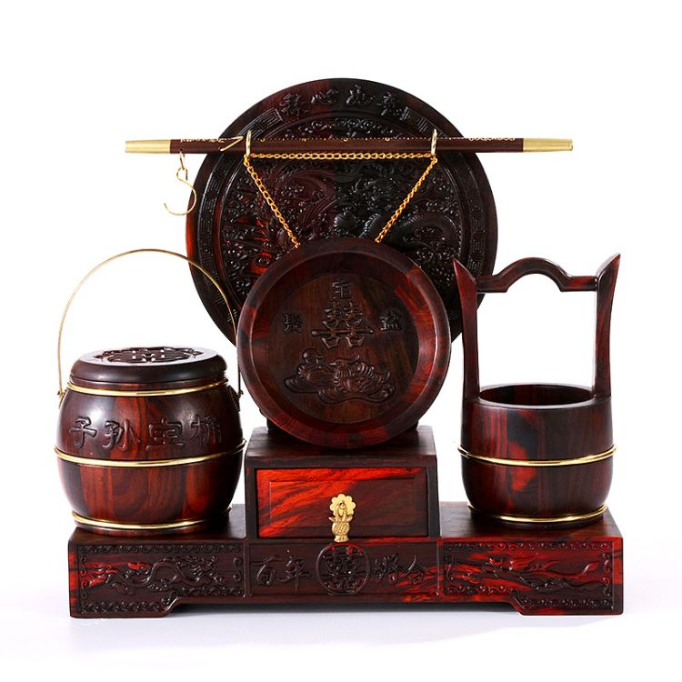 结婚用品 红木子孙宝桶三件套 婚庆陪嫁礼品 红酸枝三件套